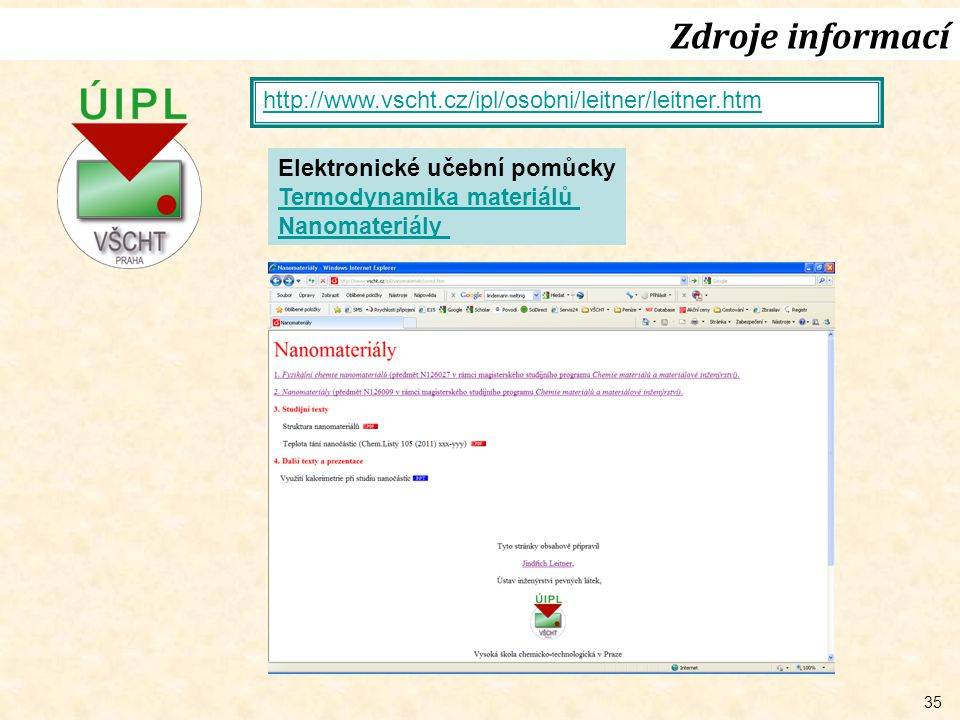 Zdroje informací http://www.vscht.cz/ipl/osobni/leitner/leitner.htm