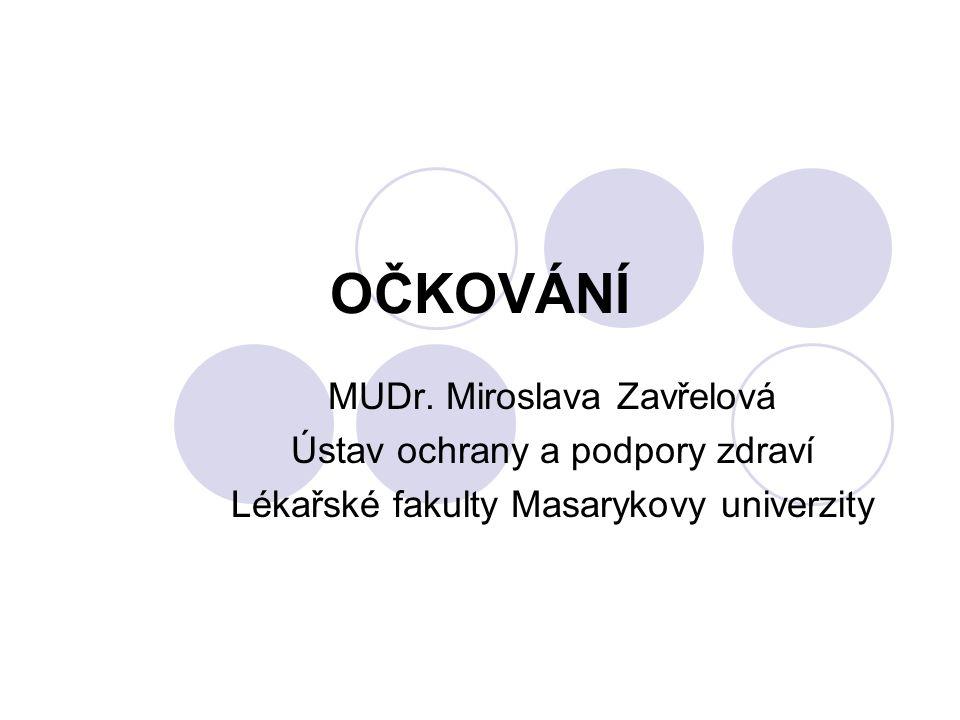 OČKOVÁNÍ MUDr. Miroslava Zavřelová Ústav ochrany a podpory zdraví