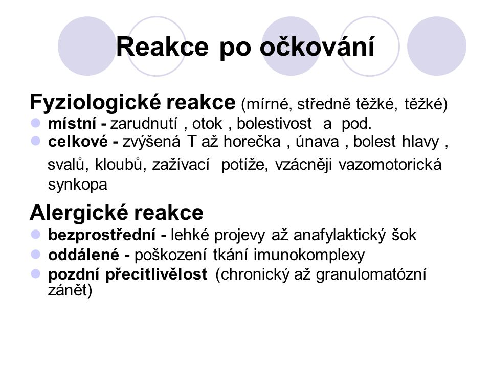 Reakce po očkování Fyziologické reakce (mírné, středně těžké, těžké)