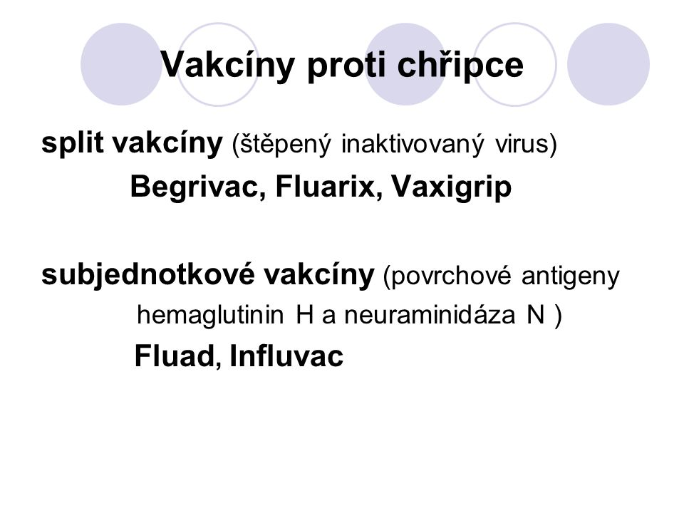 Vakcíny proti chřipce split vakcíny (štěpený inaktivovaný virus)