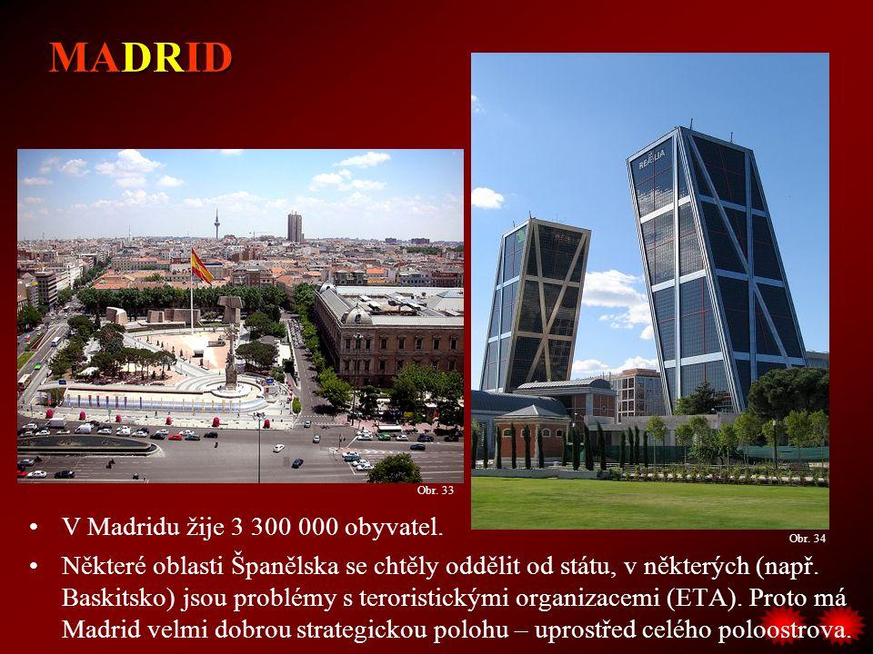 MADRID V Madridu žije 3 300 000 obyvatel.