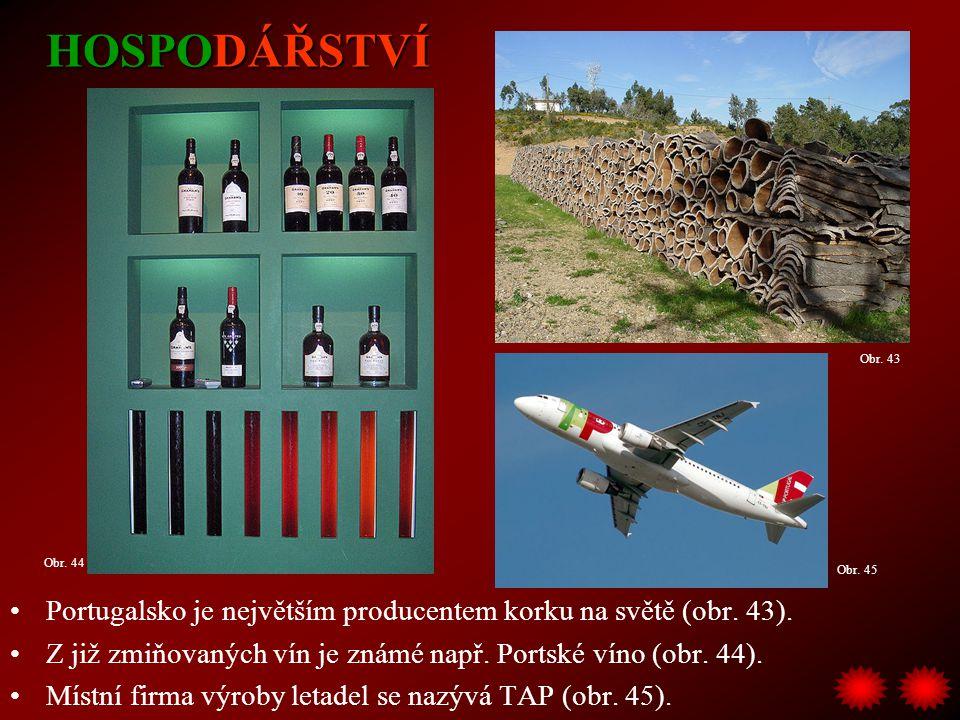 HOSPODÁŘSTVÍ Obr. 43. Obr. 44. Obr. 45. Portugalsko je největším producentem korku na světě (obr. 43).