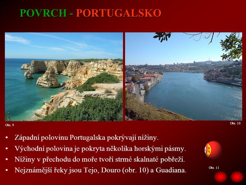 POVRCH - PORTUGALSKO Západní polovinu Portugalska pokrývají nížiny.
