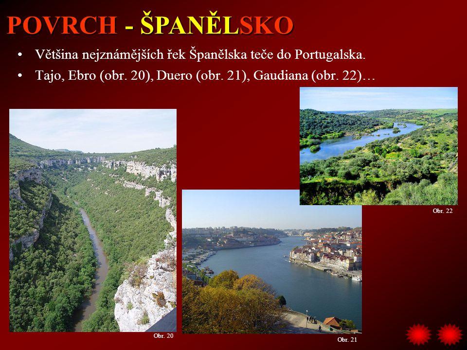 POVRCH - ŠPANĚLSKO Většina nejznámějších řek Španělska teče do Portugalska. Tajo, Ebro (obr. 20), Duero (obr. 21), Gaudiana (obr. 22)…