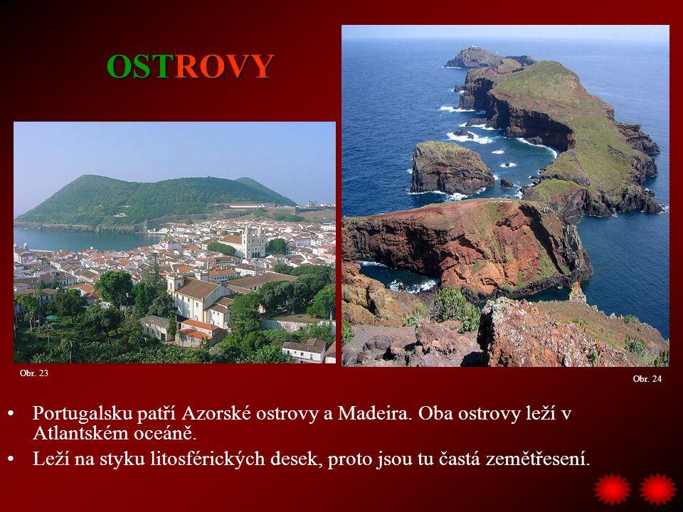 OSTROVY Obr. 23. Obr. 24. Portugalsku patří Azorské ostrovy a Madeira. Oba ostrovy leží v Atlantském oceáně.