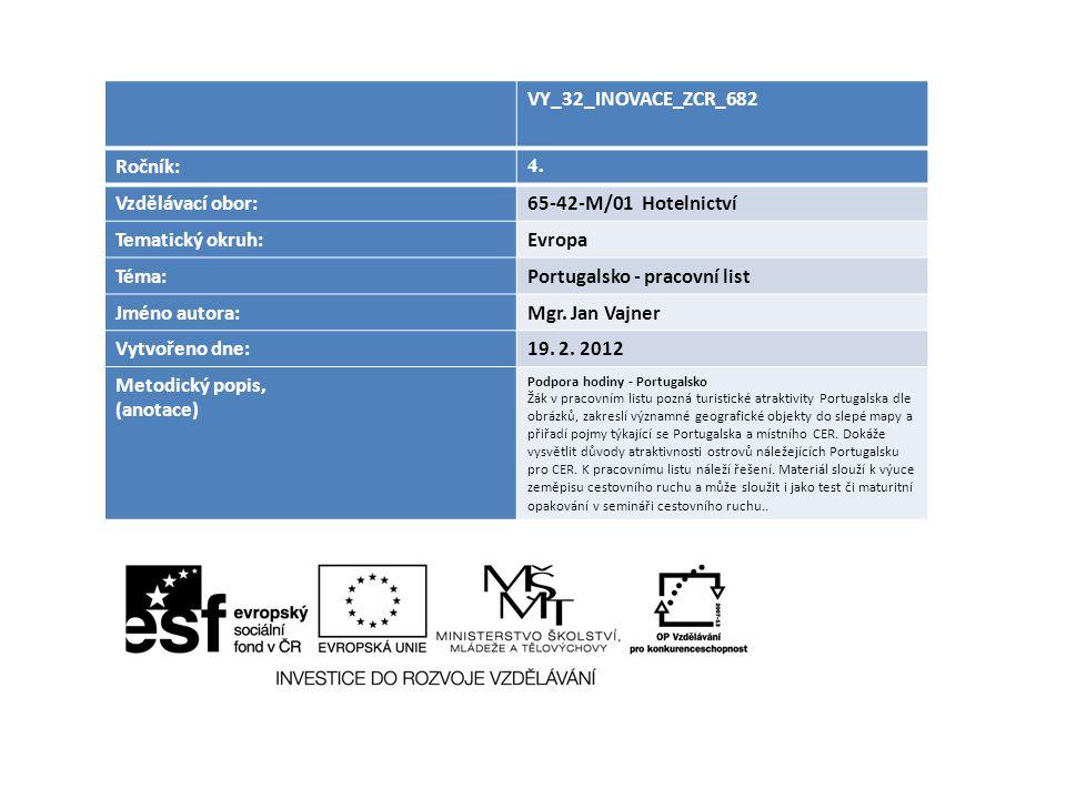 Portugalsko - pracovní list Jméno autora: Mgr. Jan Vajner