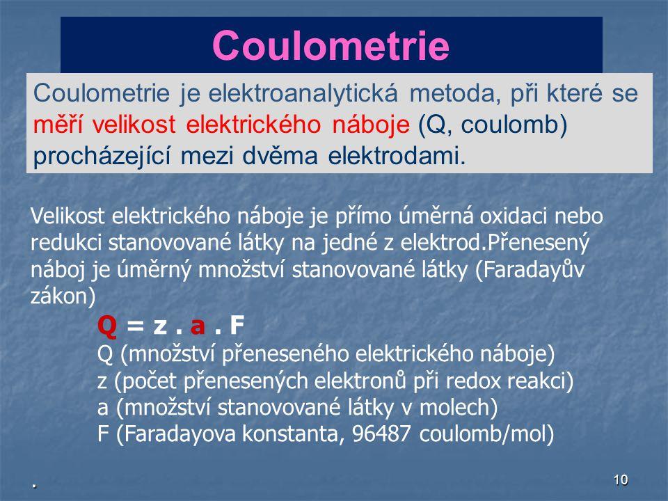 Coulometrie Coulometrie je elektroanalytická metoda, při které se měří velikost elektrického náboje (Q, coulomb) procházející mezi dvěma elektrodami.