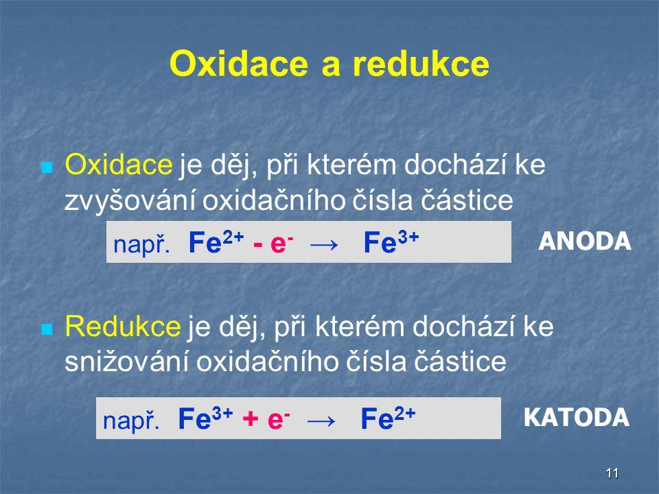 Oxidace a redukce Oxidace je děj, při kterém dochází ke zvyšování oxidačního čísla částice.
