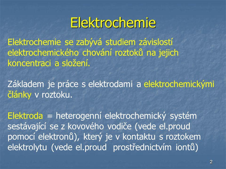Elektrochemie Elektrochemie se zabývá studiem závislostí elektrochemického chování roztoků na jejich koncentraci a složení.