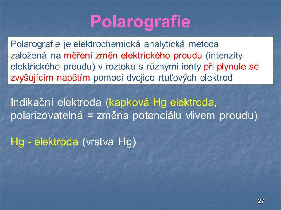 Polarografie Indikační elektroda (kapková Hg elektroda,