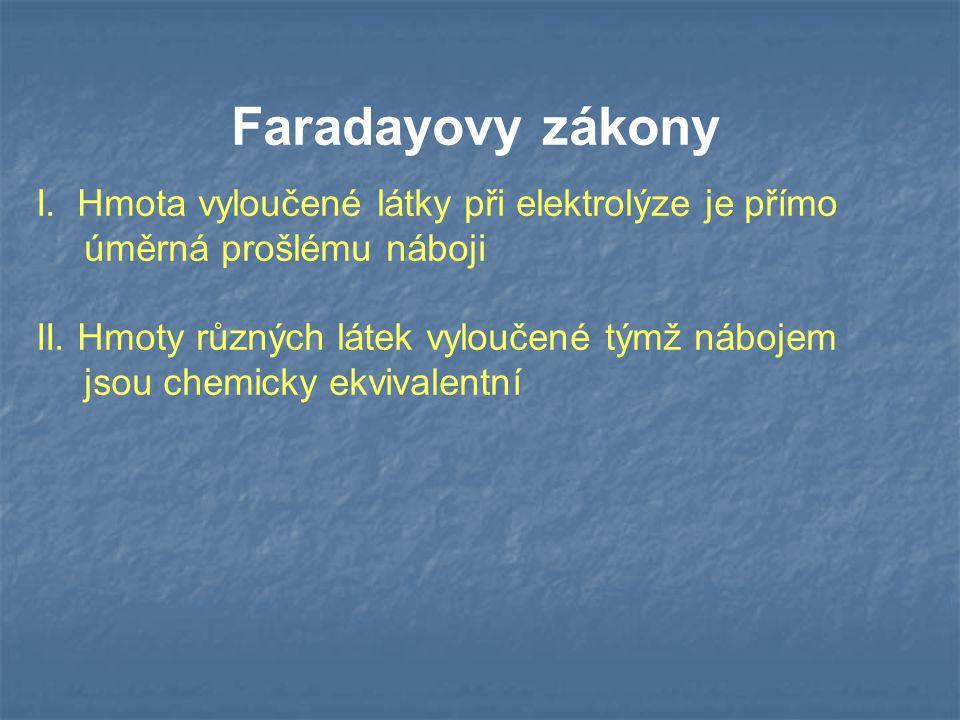 Faradayovy zákony I. Hmota vyloučené látky při elektrolýze je přímo úměrná prošlému náboji.