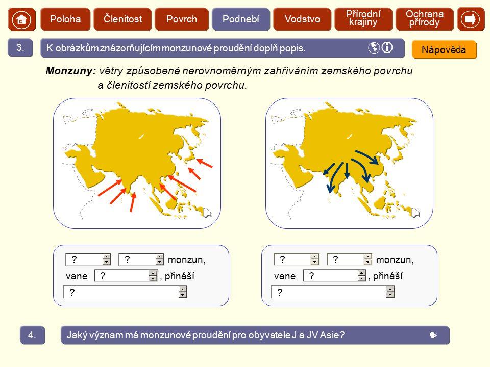 Poloha Členitost. Povrch. Podnebí. Vodstvo. Přírodní krajiny. Ochrana přírody.  3. K obrázkům znázorňujícím monzunové proudění doplň popis.