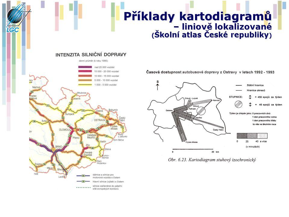 Příklady kartodiagramů – liniově lokalizované (Školní atlas České republiky)