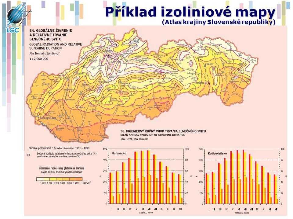 Příklad izoliniové mapy (Atlas krajiny Slovenské republiky)