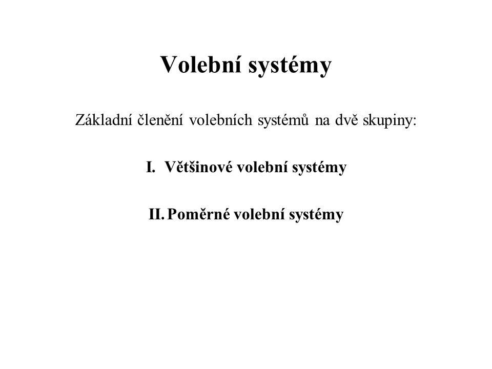 Většinové volební systémy Poměrné volební systémy