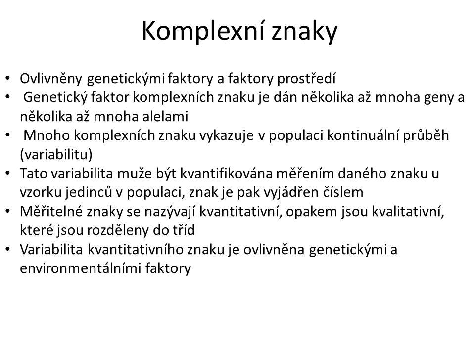 Komplexní znaky Ovlivněny genetickými faktory a faktory prostředí