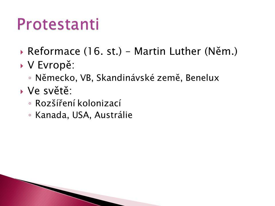 Protestanti Reformace (16. st.) – Martin Luther (Něm.) V Evropě: