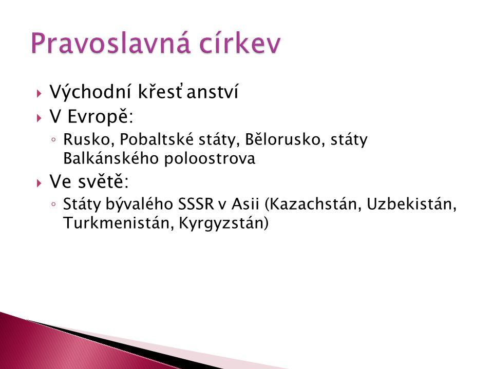 Pravoslavná církev Východní křesťanství V Evropě: Ve světě: