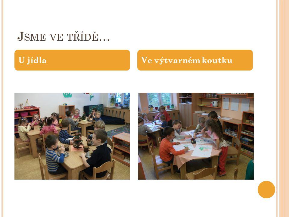 Jsme ve třídě… U jídla Ve výtvarném koutku