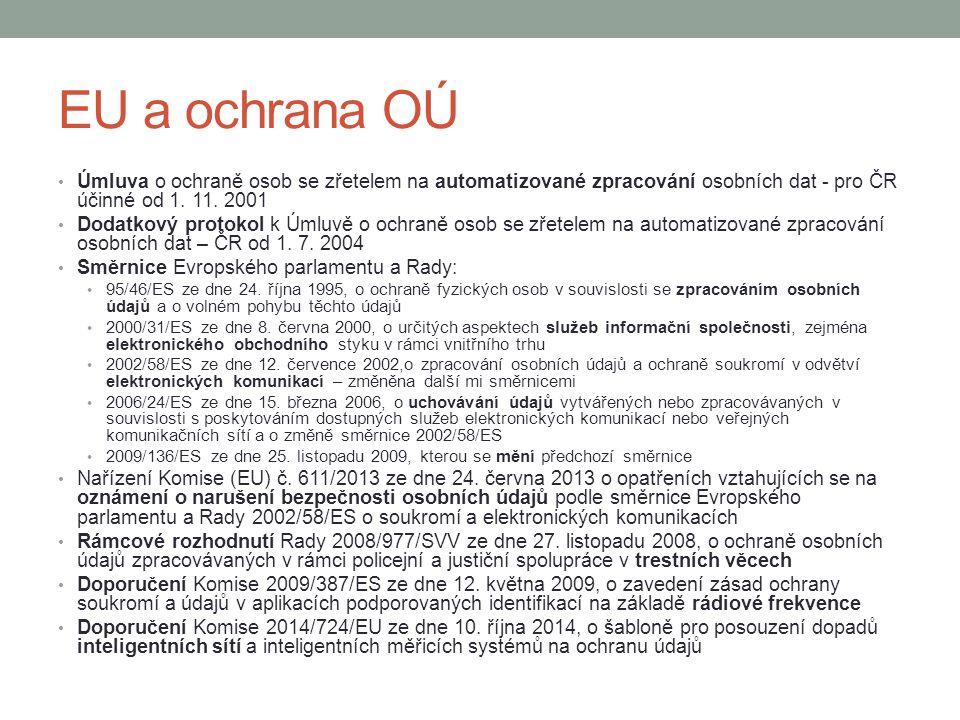 EU a ochrana OÚ Úmluva o ochraně osob se zřetelem na automatizované zpracování osobních dat - pro ČR účinné od 1. 11. 2001.