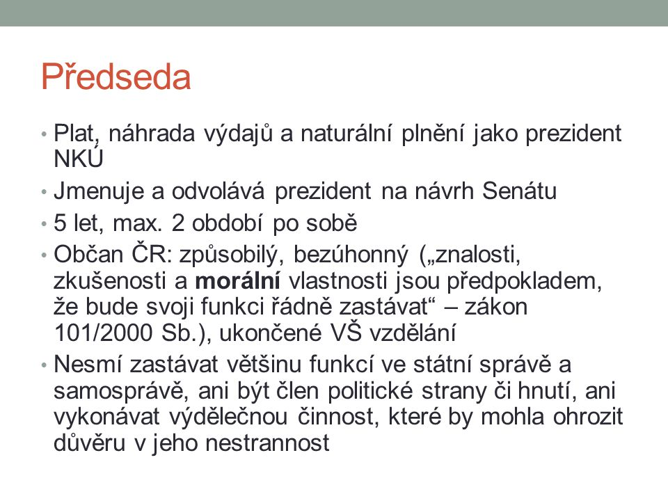Předseda Plat, náhrada výdajů a naturální plnění jako prezident NKÚ