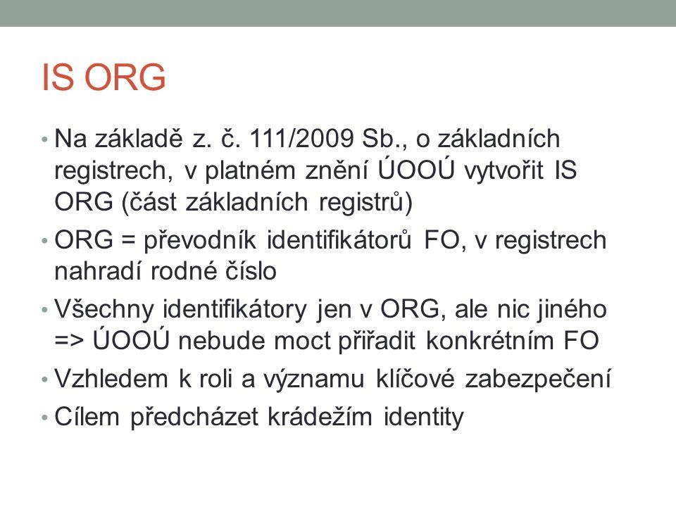 IS ORG Na základě z. č. 111/2009 Sb., o základních registrech, v platném znění ÚOOÚ vytvořit IS ORG (část základních registrů)