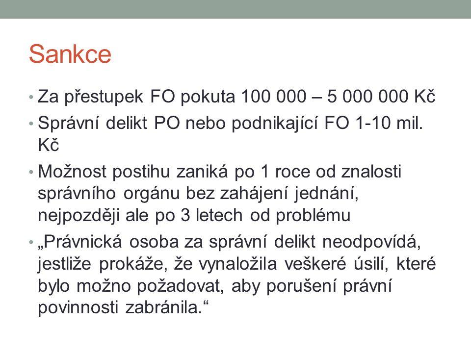 Sankce Za přestupek FO pokuta 100 000 – 5 000 000 Kč