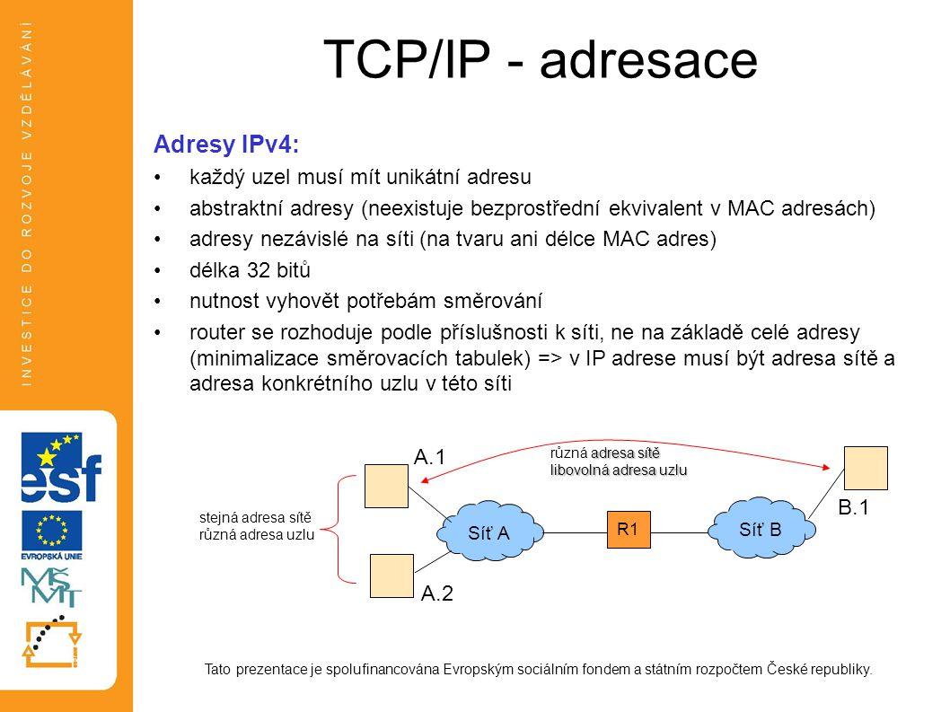 TCP/IP - adresace Adresy IPv4: každý uzel musí mít unikátní adresu