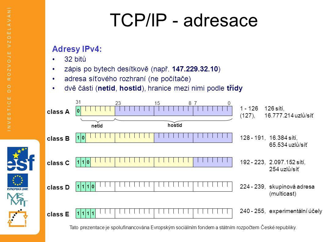 TCP/IP - adresace Adresy IPv4: 32 bitů