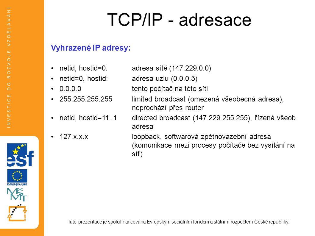 TCP/IP - adresace Vyhrazené IP adresy: