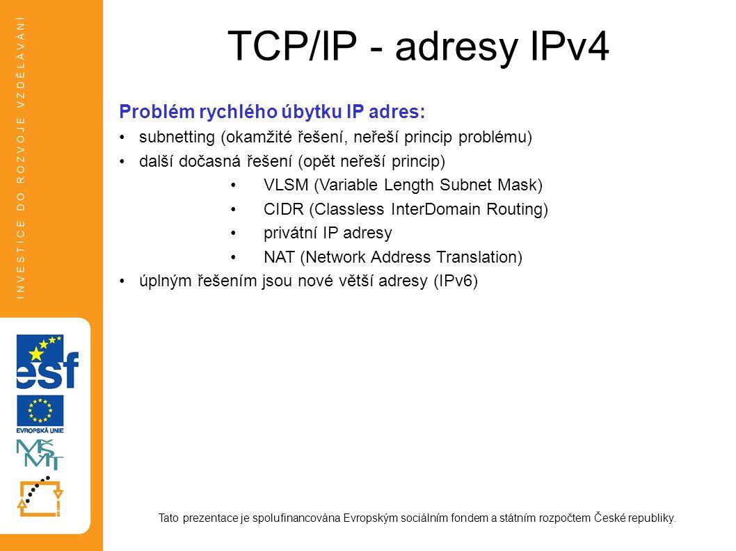 TCP/IP - adresy IPv4 Problém rychlého úbytku IP adres: