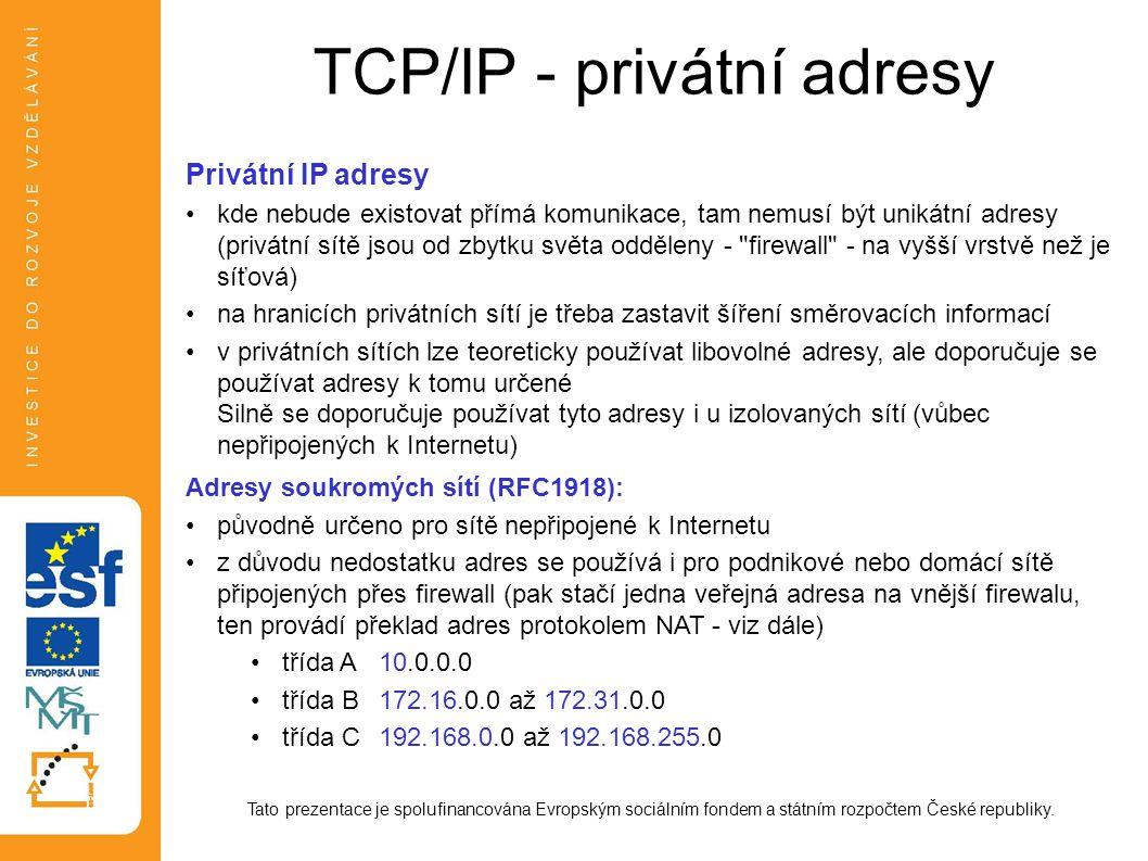 TCP/IP - privátní adresy