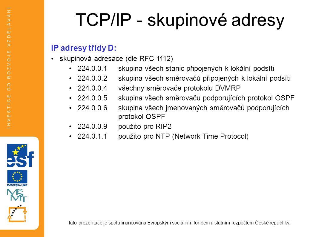 TCP/IP - skupinové adresy