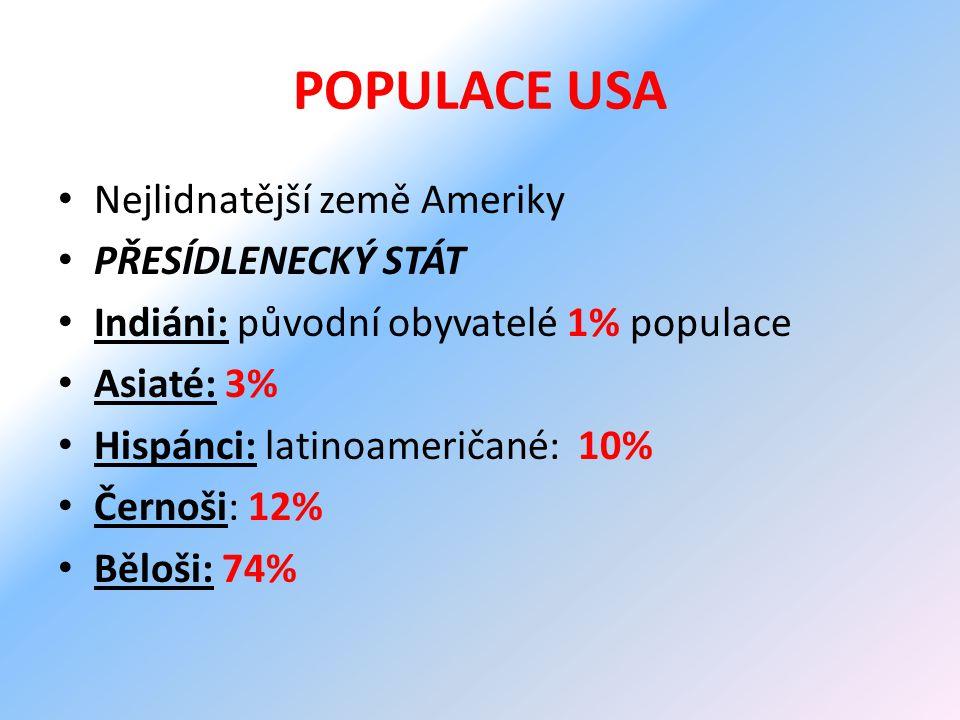 POPULACE USA Nejlidnatější země Ameriky PŘESÍDLENECKÝ STÁT
