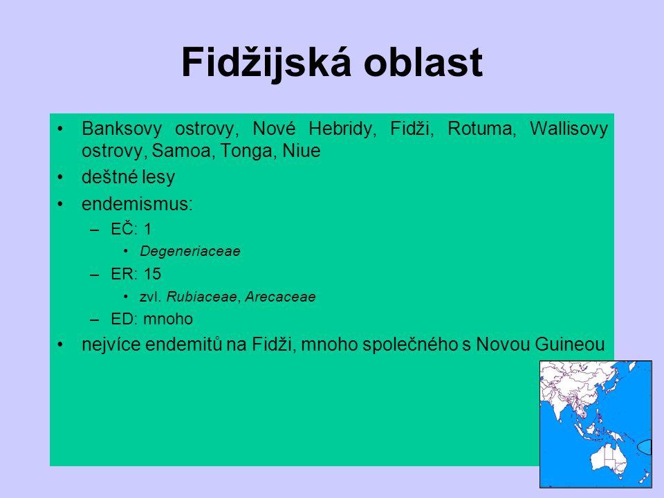 Fidžijská oblast Banksovy ostrovy, Nové Hebridy, Fidži, Rotuma, Wallisovy ostrovy, Samoa, Tonga, Niue.