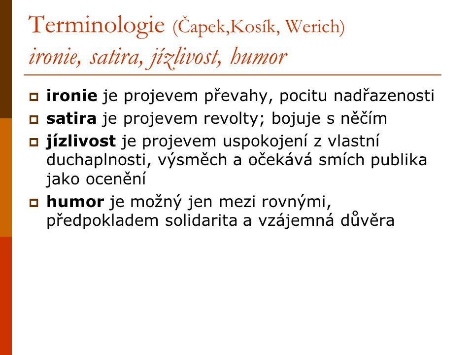 Terminologie (Čapek,Kosík, Werich) ironie, satira, jízlivost, humor