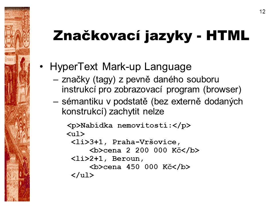 Značkovací jazyky - HTML