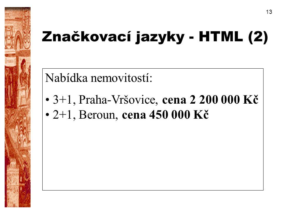 Značkovací jazyky - HTML (2)