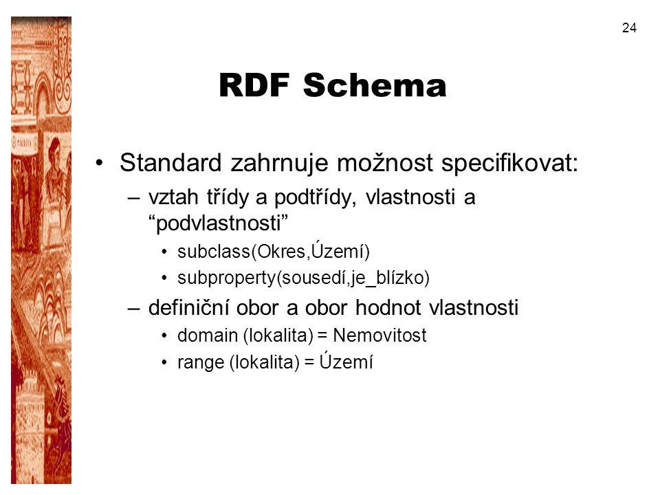 RDF Schema Standard zahrnuje možnost specifikovat:
