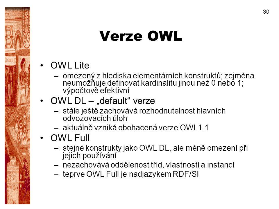 """Verze OWL OWL Lite OWL DL – """"default verze OWL Full"""
