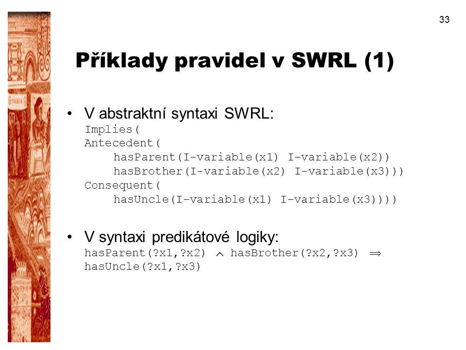 Příklady pravidel v SWRL (1)