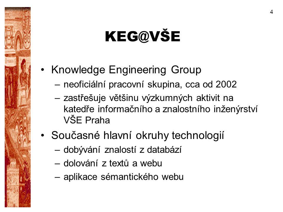 KEG@VŠE Knowledge Engineering Group Současné hlavní okruhy technologií