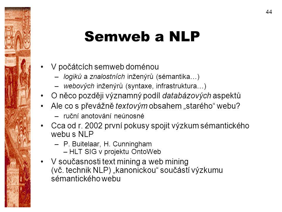 Semweb a NLP V počátcích semweb doménou