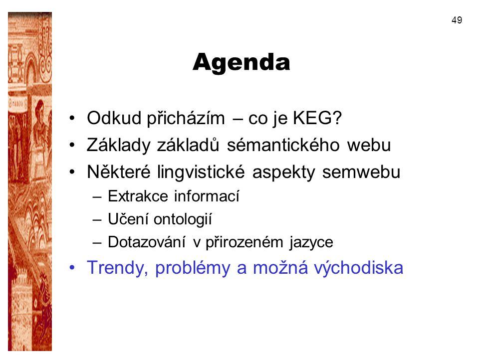 Agenda Odkud přicházím – co je KEG Základy základů sémantického webu