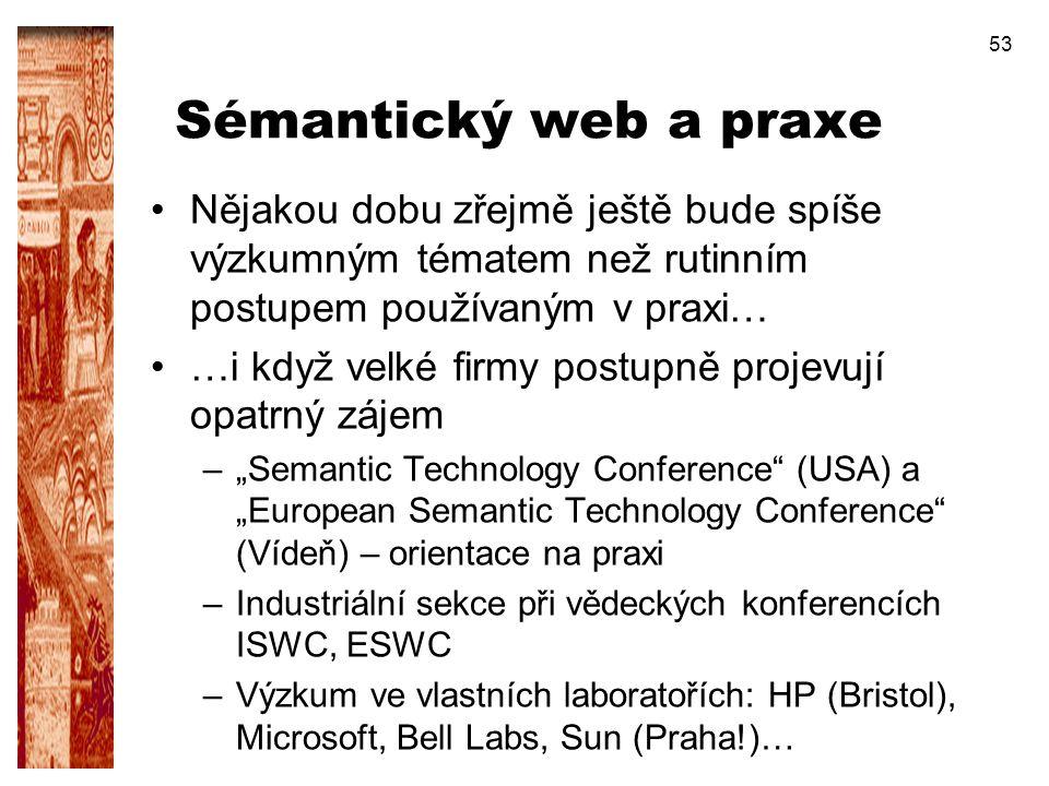 Sémantický web a praxe Nějakou dobu zřejmě ještě bude spíše výzkumným tématem než rutinním postupem používaným v praxi…