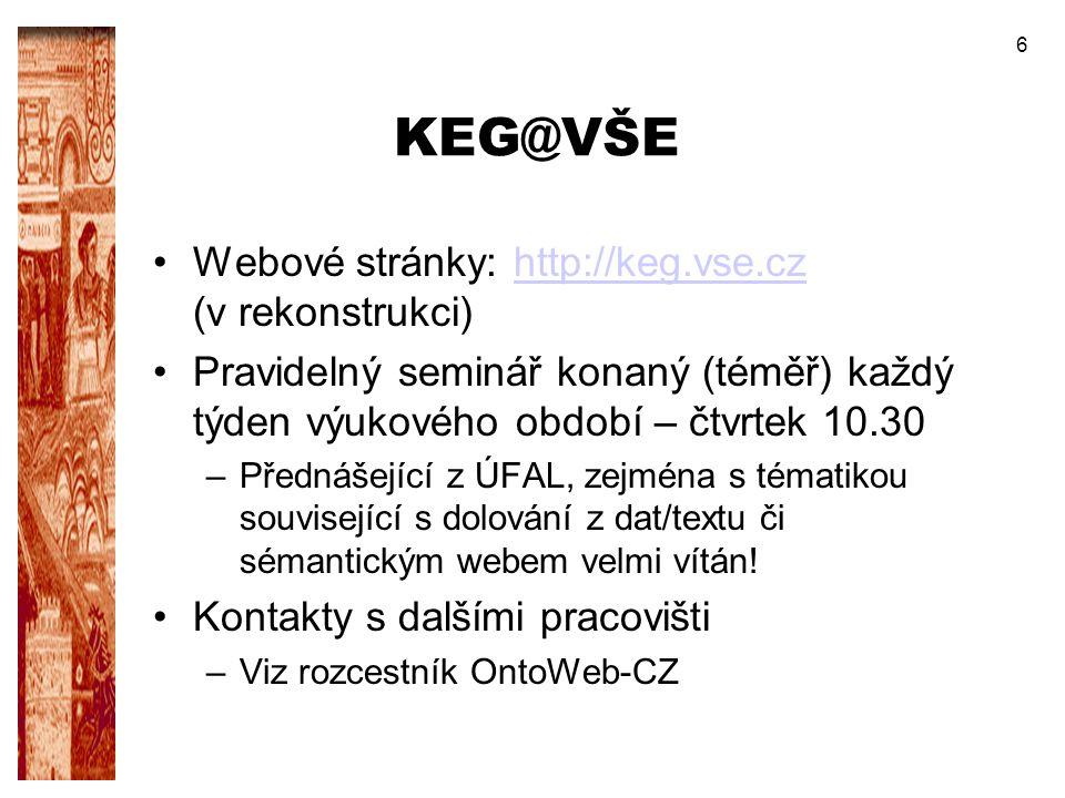 KEG@VŠE Webové stránky: http://keg.vse.cz (v rekonstrukci)