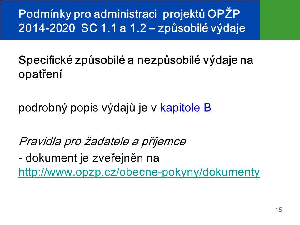 Podmínky pro administraci projektů OPŽP 2014-2020 SC 1. 1 a 1