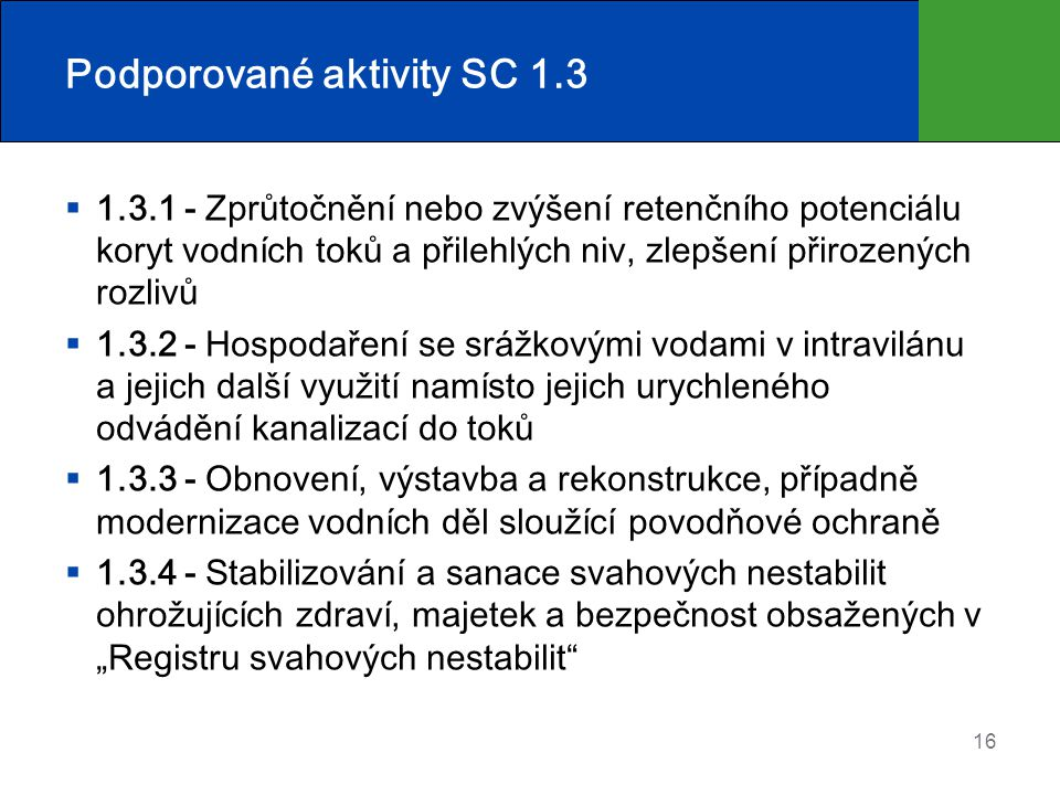 Podporované aktivity SC 1.3