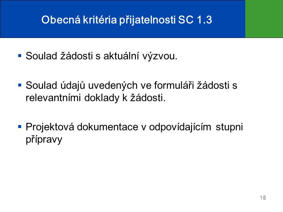 Obecná kritéria přijatelnosti SC 1.3
