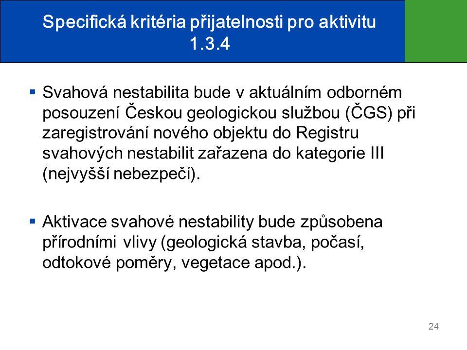 Specifická kritéria přijatelnosti pro aktivitu 1.3.4